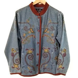 VTG Denim&Co Button Down Embroidered Jean Jacket